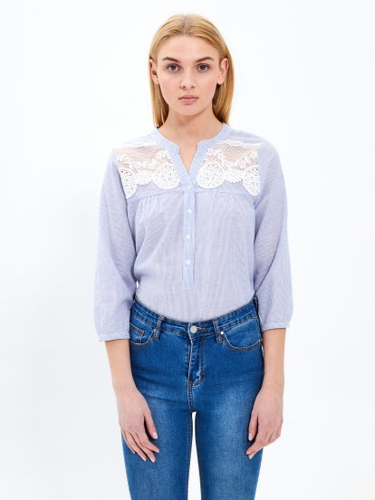 Striped blouse with lace detail