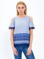 Cold-shoulder printed top