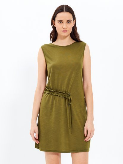 Knitted dress with frill detail