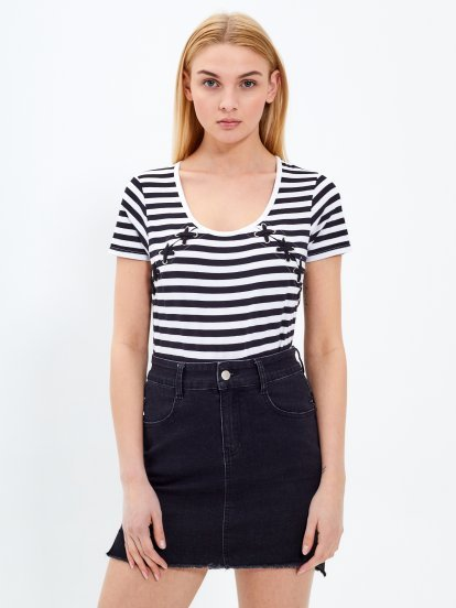 Striped top with lacing