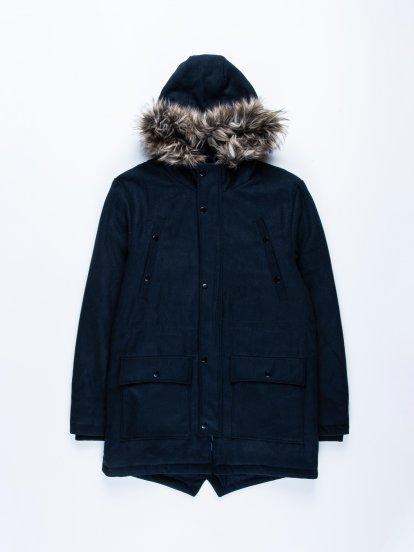 Hooded coat in wool blend