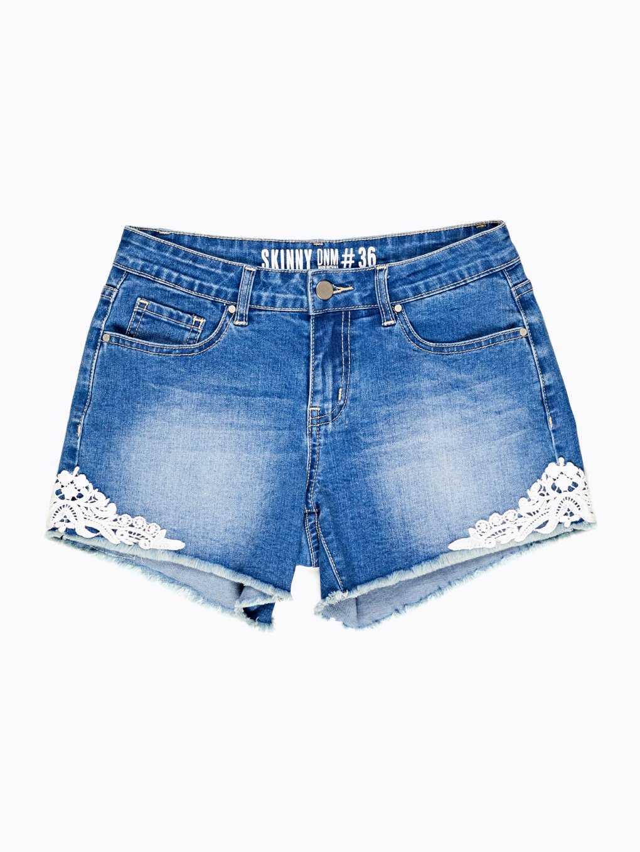 Denim shorts with crochet detail