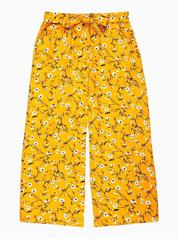 Flower print wide leg trousers