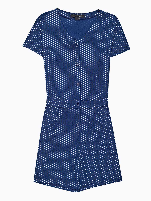 Polka dot print button-down jumpsuit