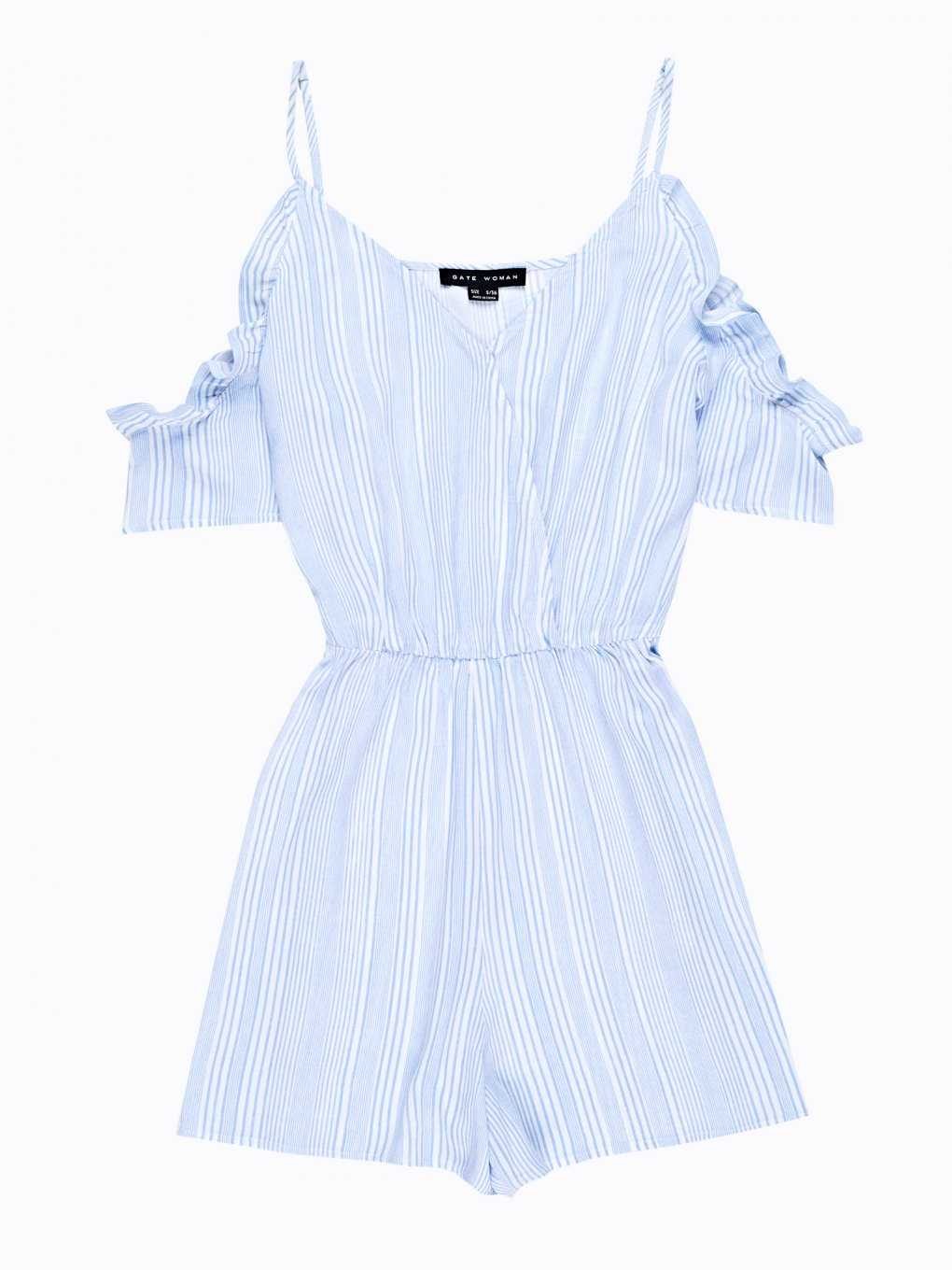 Striped short jumpsuit with ruffles