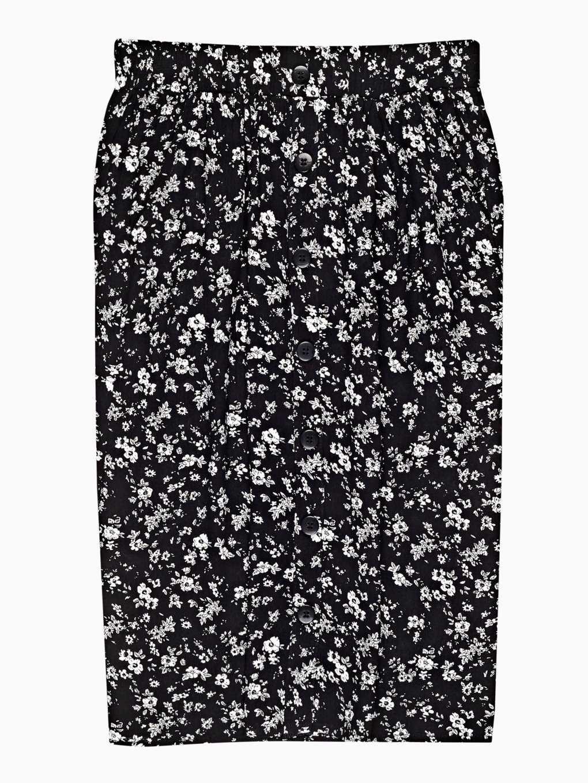 Button down floral print midi skirt