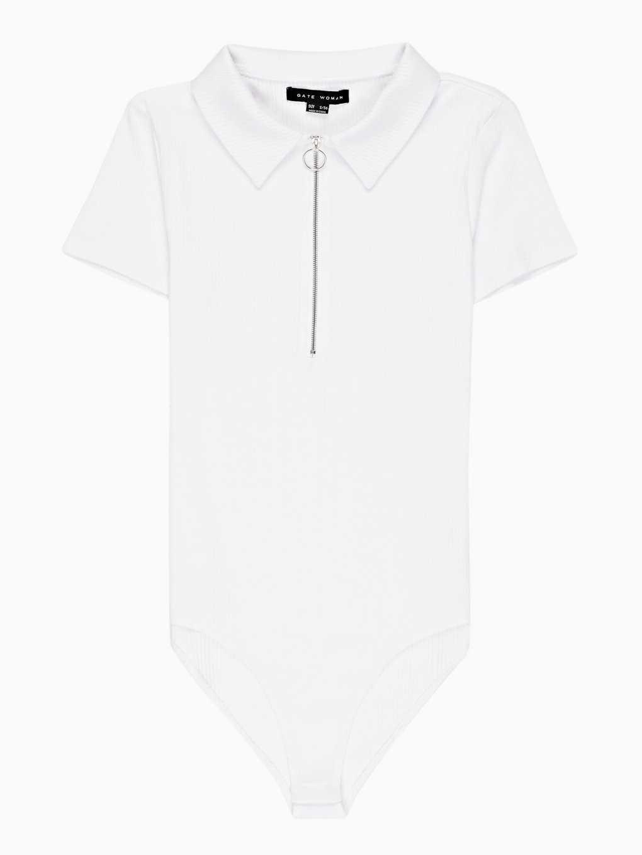Polo bodysuit with zipper