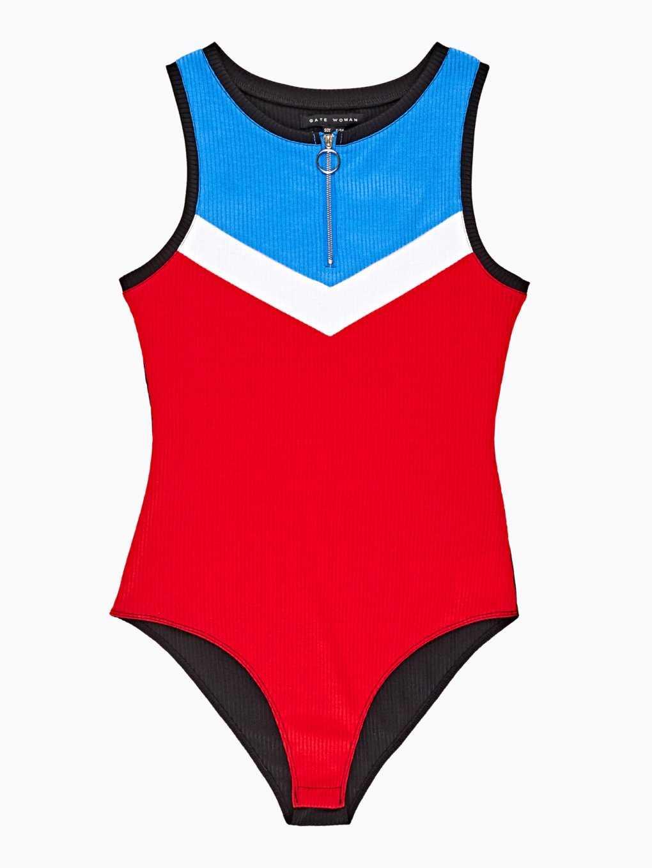 Colour block bodysuit with zipper