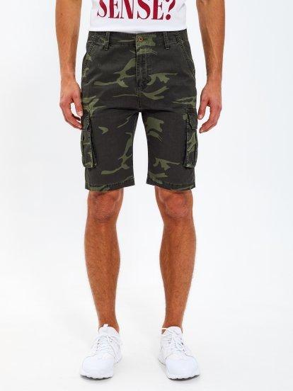 Camo print cotton cargo shorts