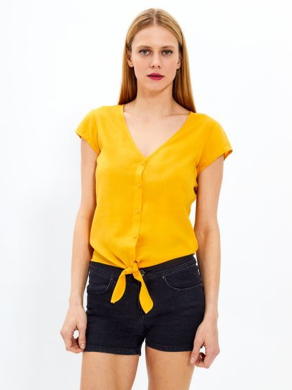 Knot front blouse top