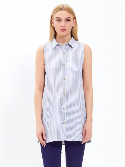 Longline sleeveless striped shirt