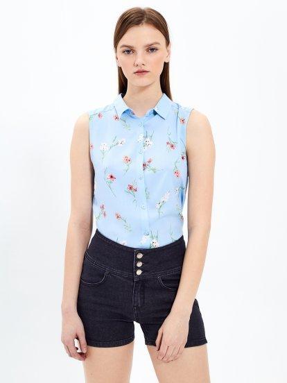 Košile bez rukávů s květinovým potiskem