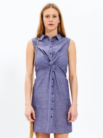 Koszulowa sukienka z węzłem