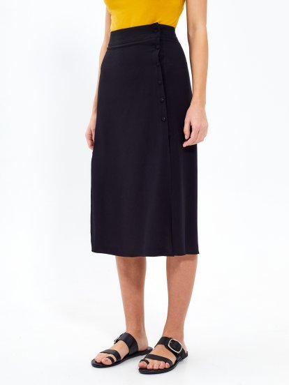 High-waisted button-down midi skirt