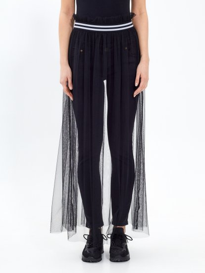 Maxi mesh skirt with striped waist band