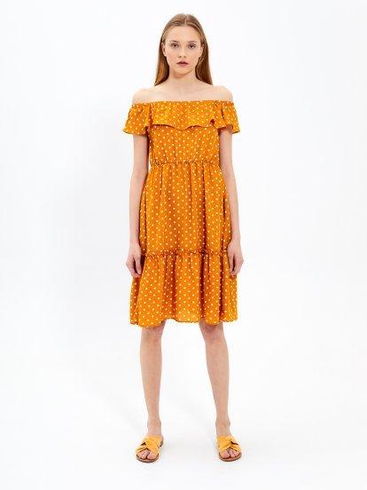 Off-the-shoulder polka dot  ruffle midi dress