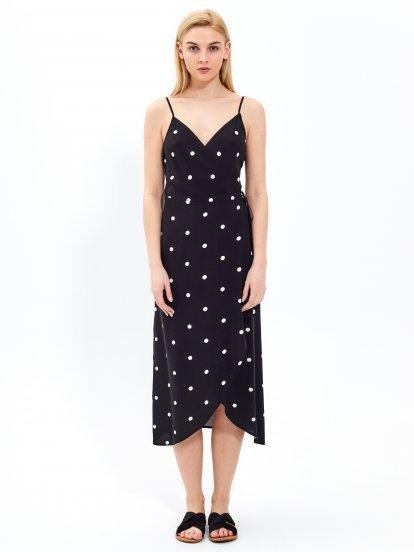 Polka dot print wrap midi dress