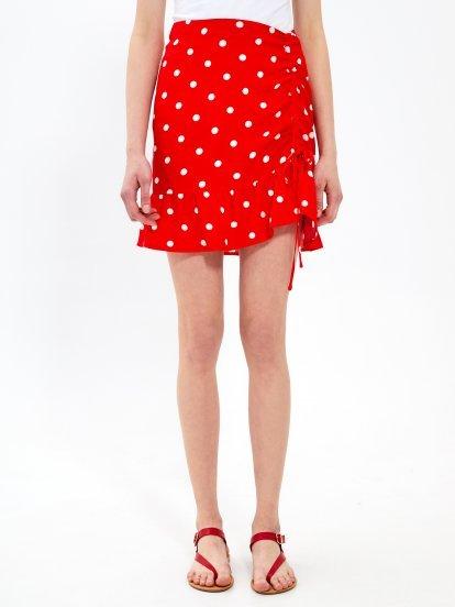 Puntíkovaná sukně s volánem