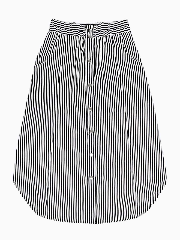 Proužkovaná sukně midi se zapínáním na knoflíky