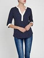 POLKA DOT BLOUSE WITH CONTRAST TRIMS