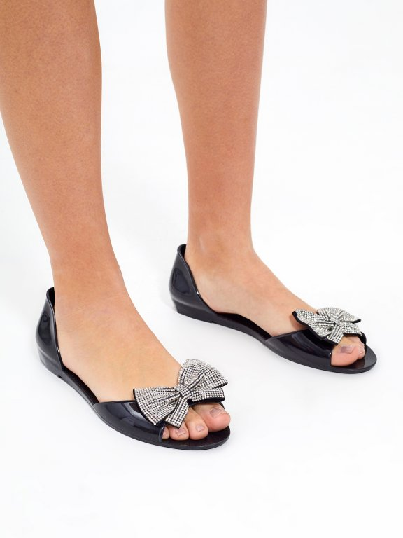 Jelly sandals with ribbon