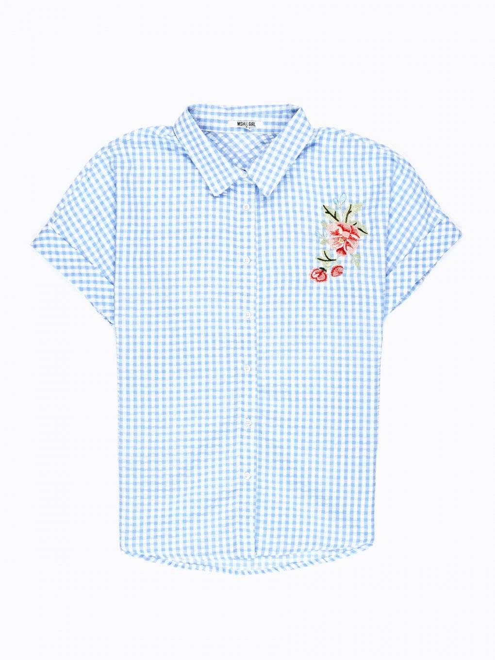 GINGHAM SHIRT WITH EMBROIDERY