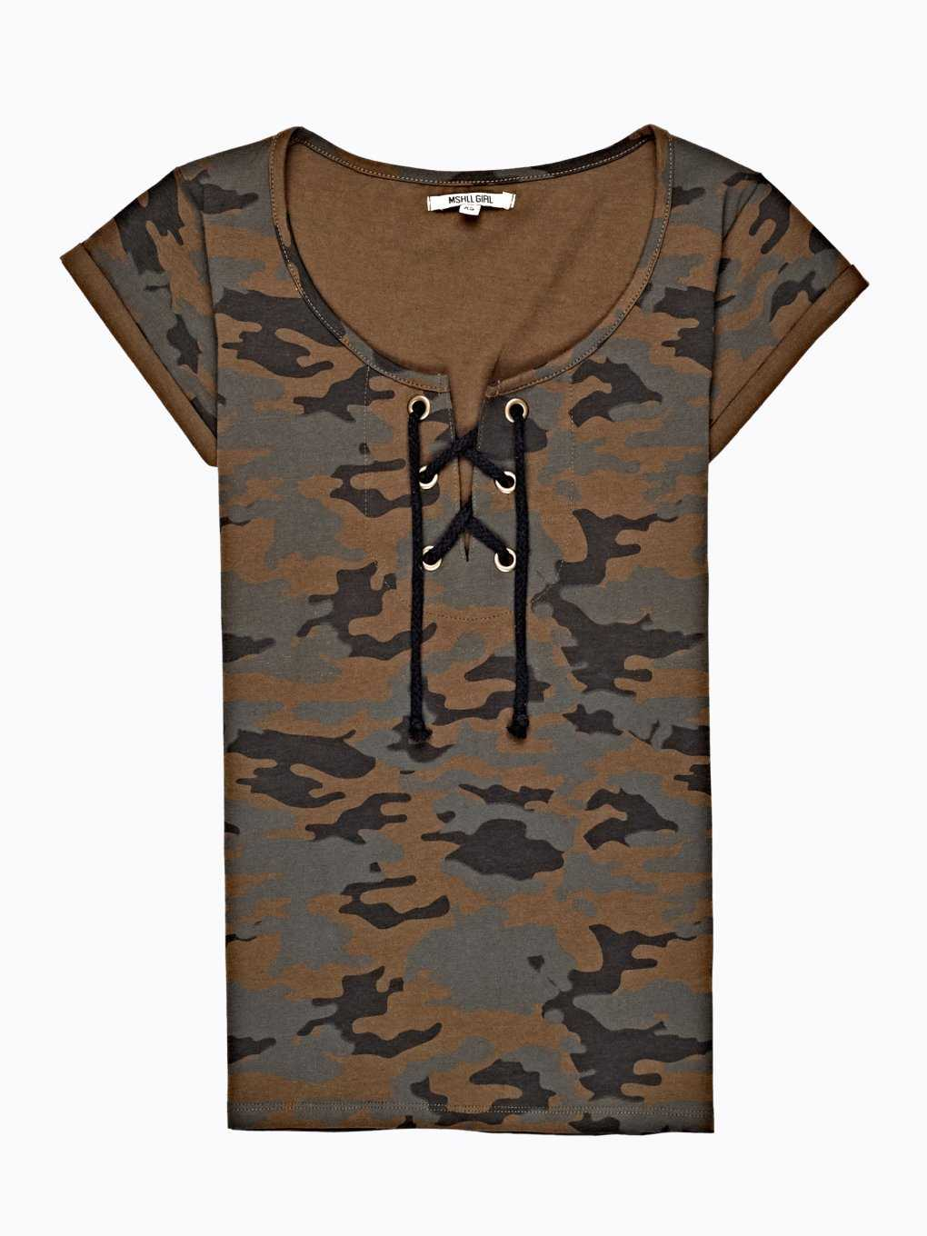 CAMO PRINT T- SHIRT WITH FRONT LACING