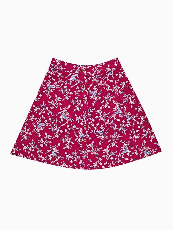Floral print button-up skirt