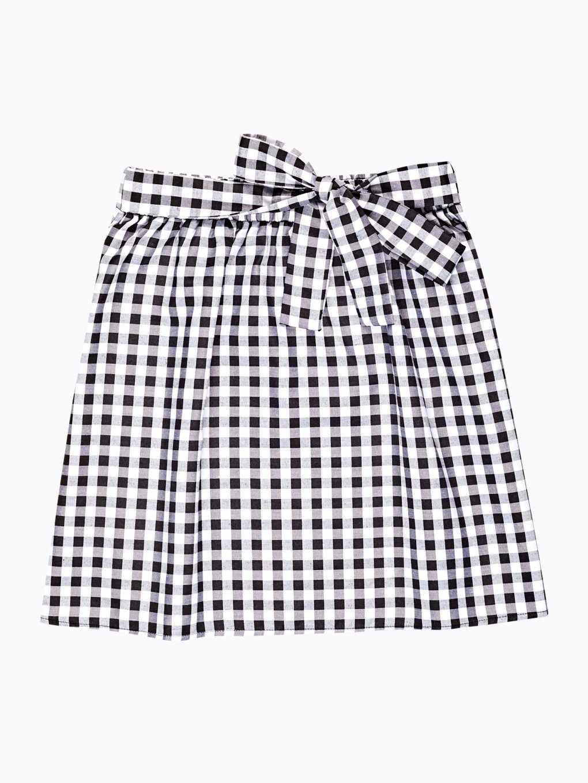 Kockovaná sukňa s ozdobnou mašľou