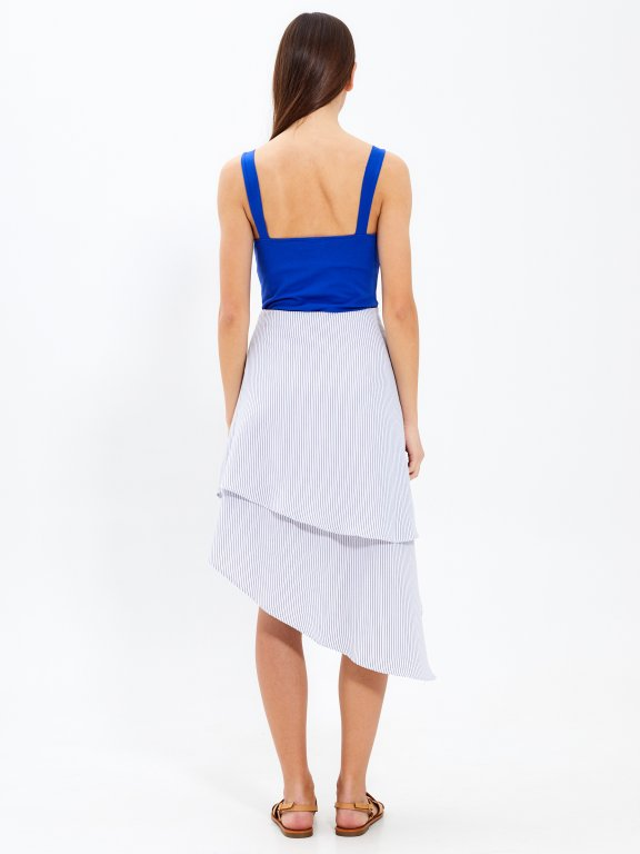 Asymetryczna spódnica midi w prążki