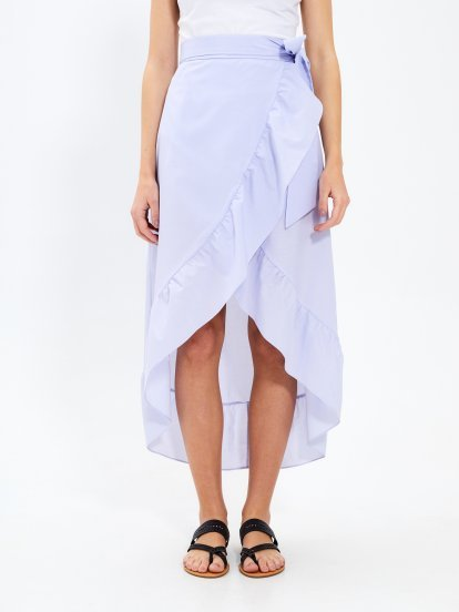 Asymmetric wrap midi skirt with ruffle