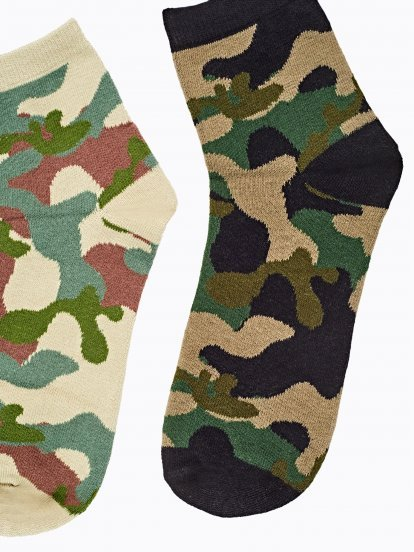 Sada dvou párů ponožek s maskáčovým vzorem