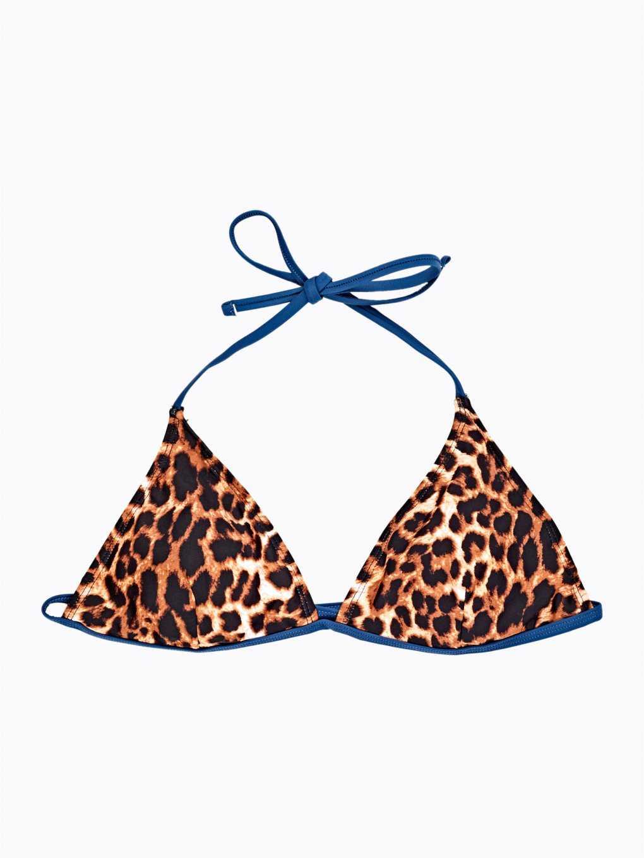 Bikini top trójkątny z nadrukiem zwierzęcym - góra