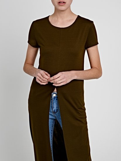 LONGLINE T-SHIRT WITH FRONT SLIT