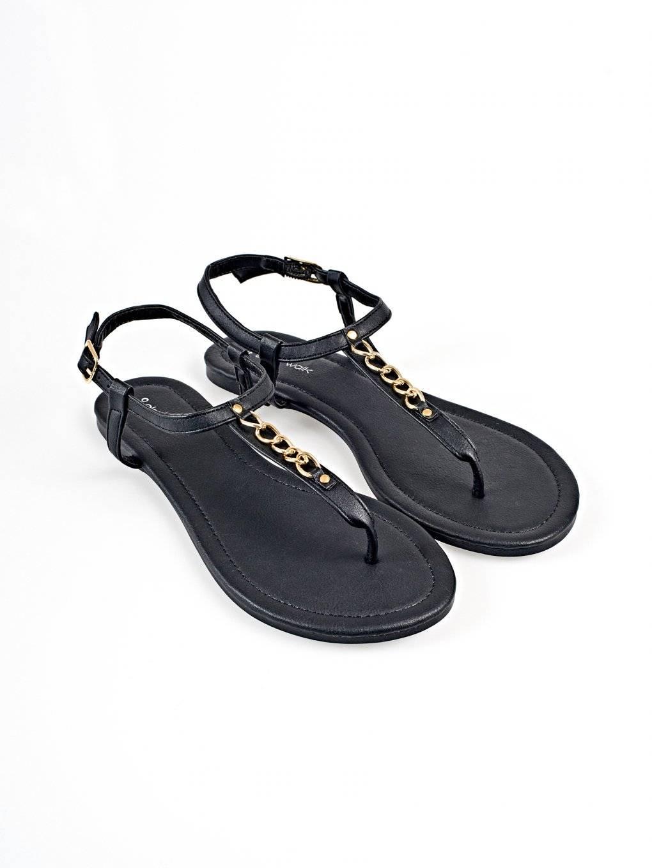Chain detail flat sandals