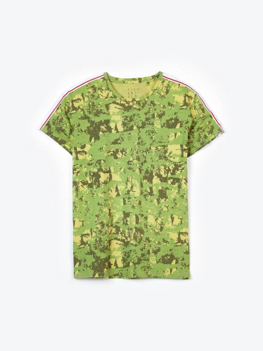 Taped camo print t-shirt