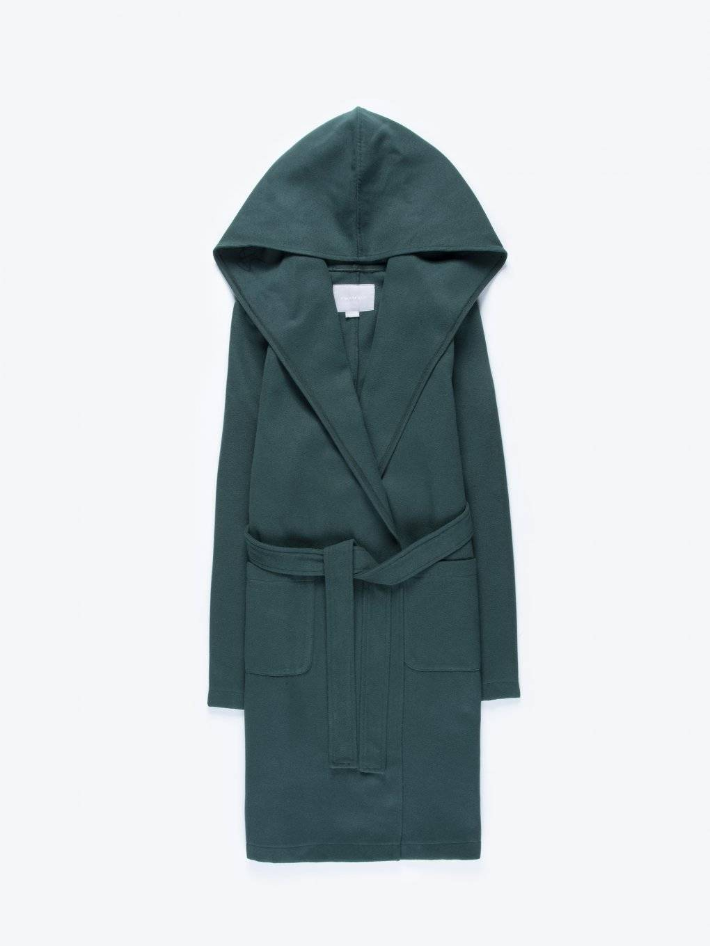 Longline hooded coat with belt