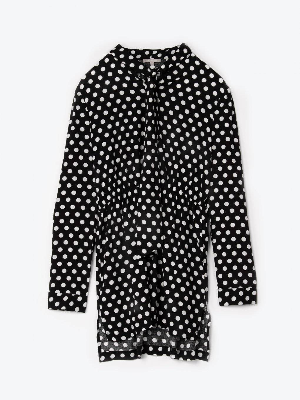 Longline polka dot viscose tie neck blouse