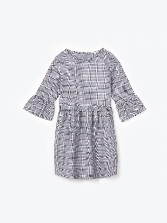 Kárované šaty s volánmi