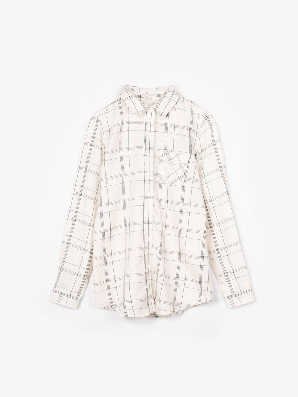 Károvaná viskózová košeľa s nápisom na chrbte