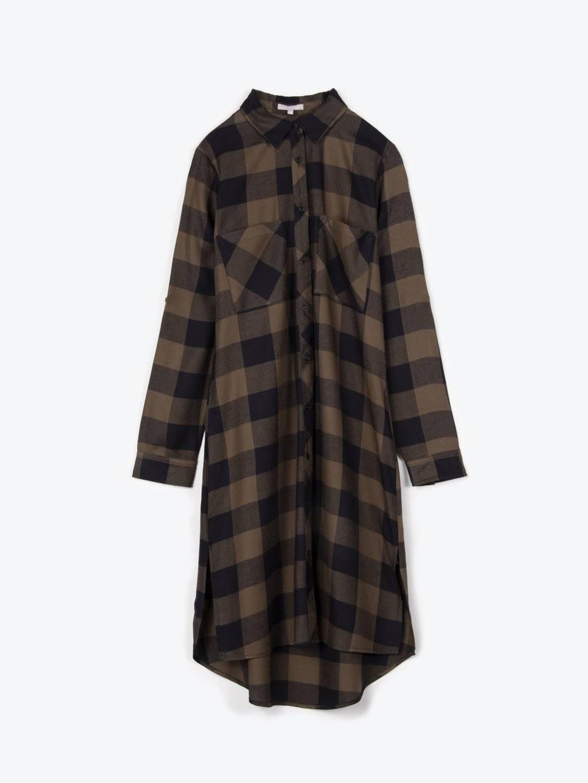 Longline plaid viscose shirt
