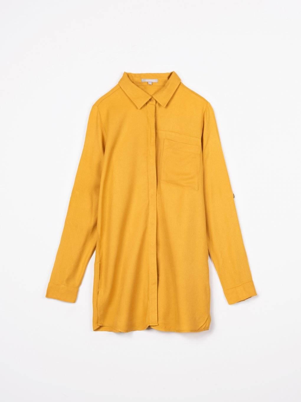 Dlouhá viskózová košile se srolovanými rukávy