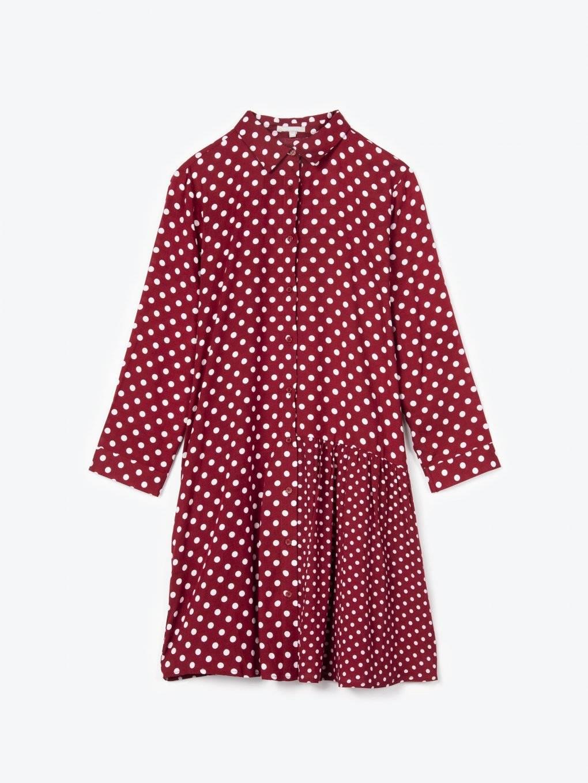 Longline polka dot print blouse