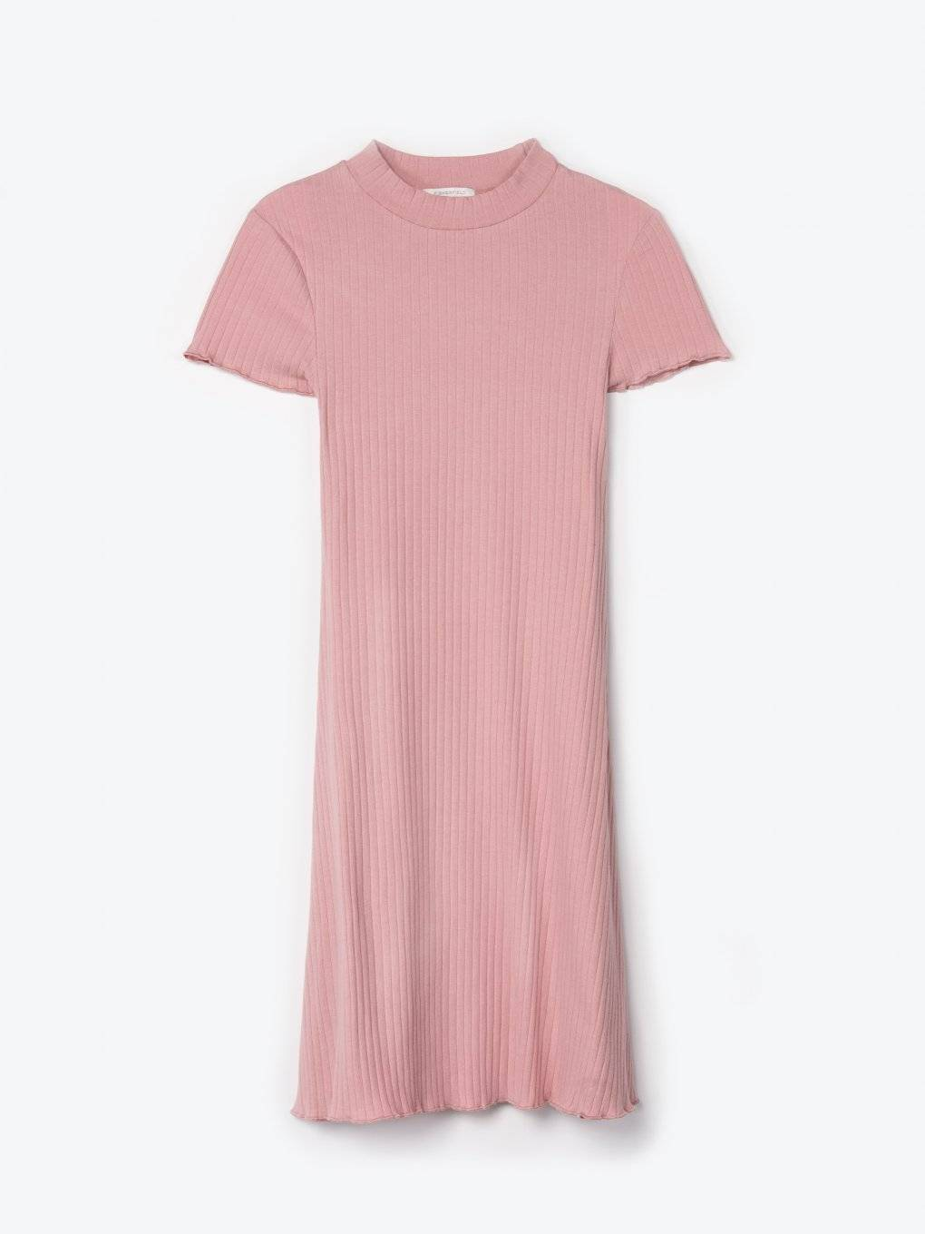Ribbed dress with hight neck