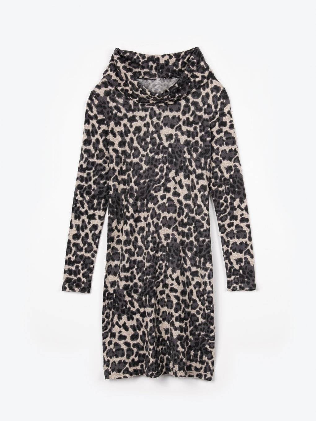 Funnel neck leopard print dress