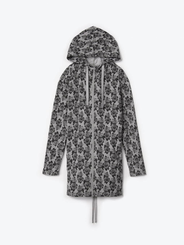 Longline zip-up hoodie with floral print
