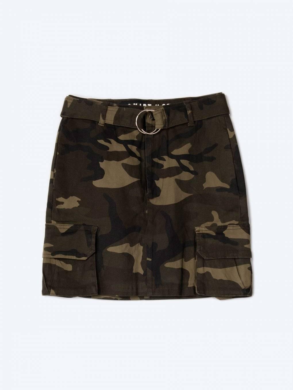 Camo print mini cargo skirt