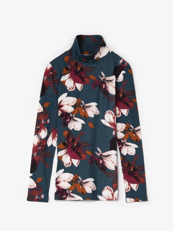 Tričko s květinovým potiskem a rolákem