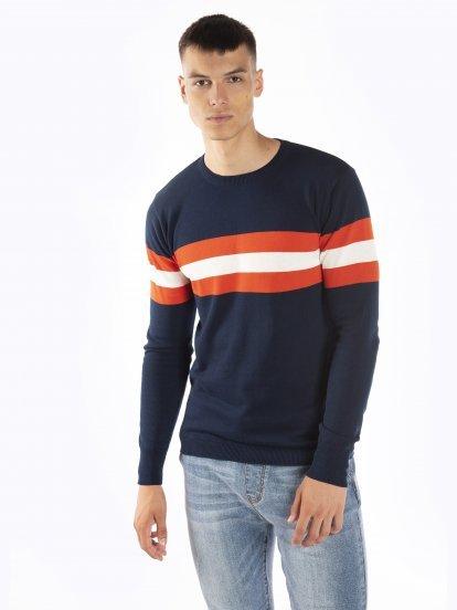 Bavlnený pulóver s pruhmi