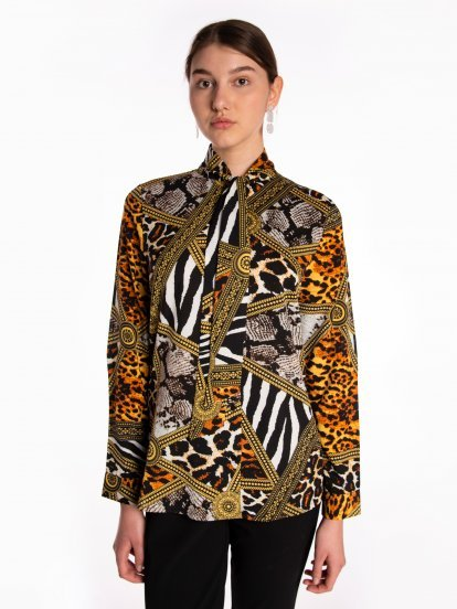 Animal print tie neck blouse